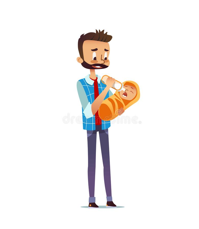 供以人员有奶瓶的举行的和哺养的婴儿 给牛奶的爸爸婴儿 照顾婴孩的唯一父亲 皇族释放例证