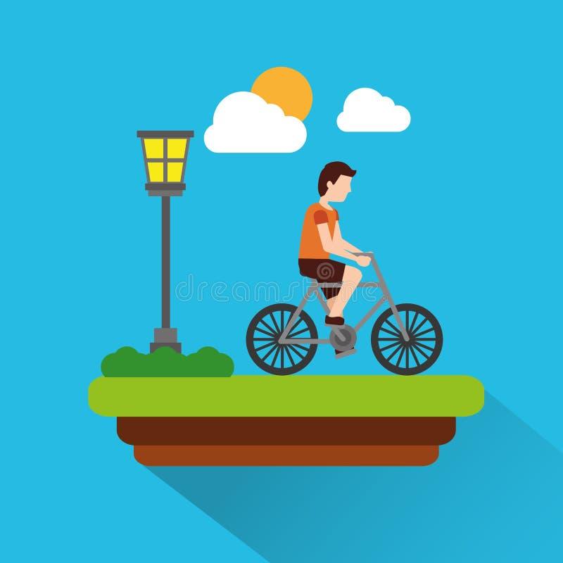 供以人员有草甸lapm光云彩和太阳场面阴影的骑马自行车 库存例证
