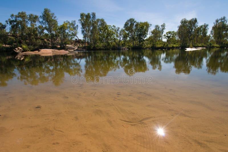 供以人员池被反射的星期日的澳洲峡&# 免版税库存照片