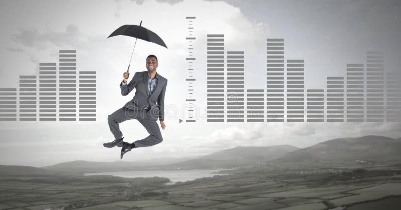 供以人员漂浮与伞和在自然风景的长条图 免版税库存照片
