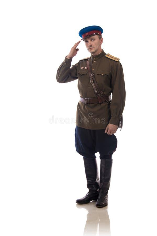 供以人员演员以俄罗斯的内部事务的形式官员人们上尉` s军粮供应从期间的1943-1945 库存照片