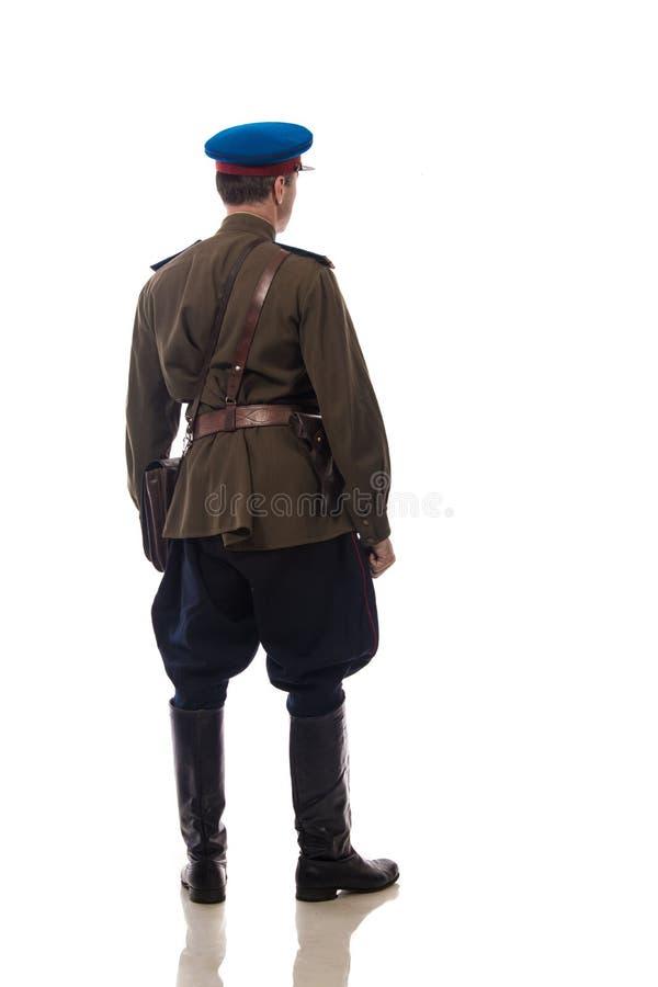 供以人员演员以俄罗斯的内部事务的形式官员人们上尉` s军粮供应从期间的1943-1945 免版税库存照片