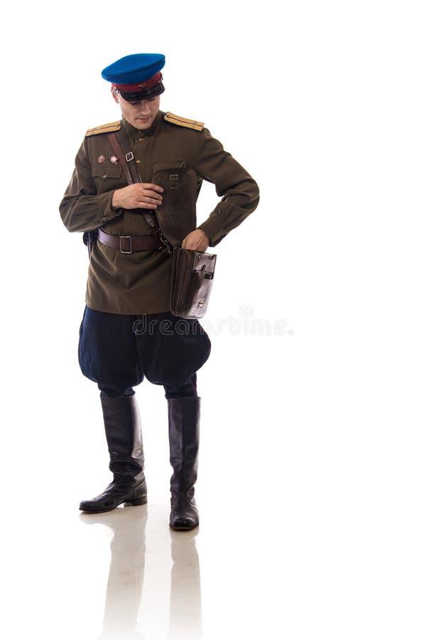 供以人员演员以俄罗斯的内部事务的形式官员人们上尉` s军粮供应从期间的1943-1945 免版税图库摄影