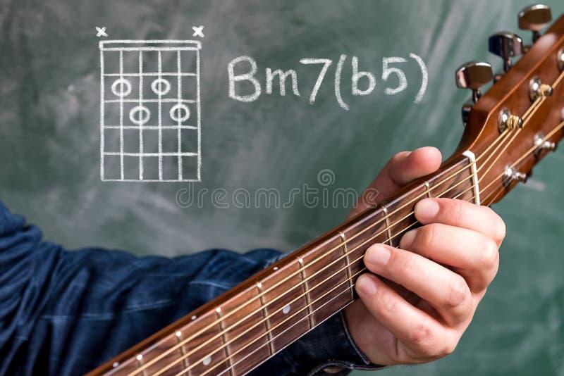 供以人员演奏在黑板显示的吉他弦,弦B较小7b5 免版税库存图片
