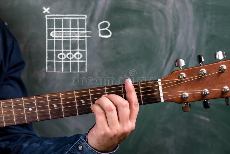 供以人员演奏在黑板显示的吉他弦,弦B 库存照片