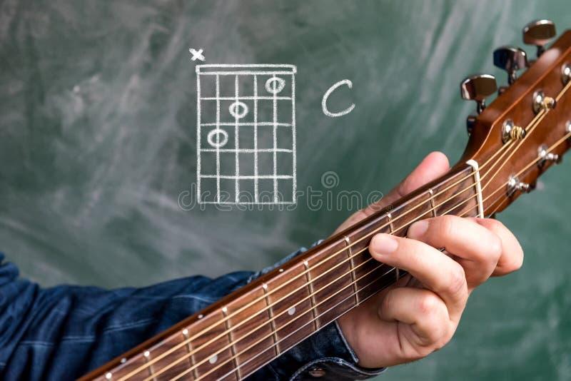 供以人员演奏在黑板显示的吉他弦,弦C 免版税图库摄影