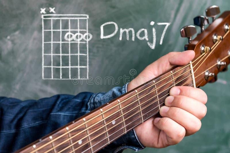 供以人员演奏在黑板显示的吉他弦,弦D 7少校 库存图片