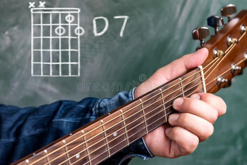 供以人员演奏在黑板显示的吉他弦,弦D 7 免版税库存照片