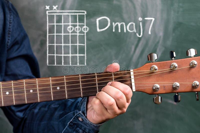 供以人员演奏在黑板显示的吉他弦,弦Dmaj7 免版税库存照片