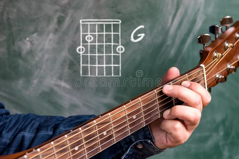 供以人员演奏在黑板显示的吉他弦,弦G 免版税库存图片
