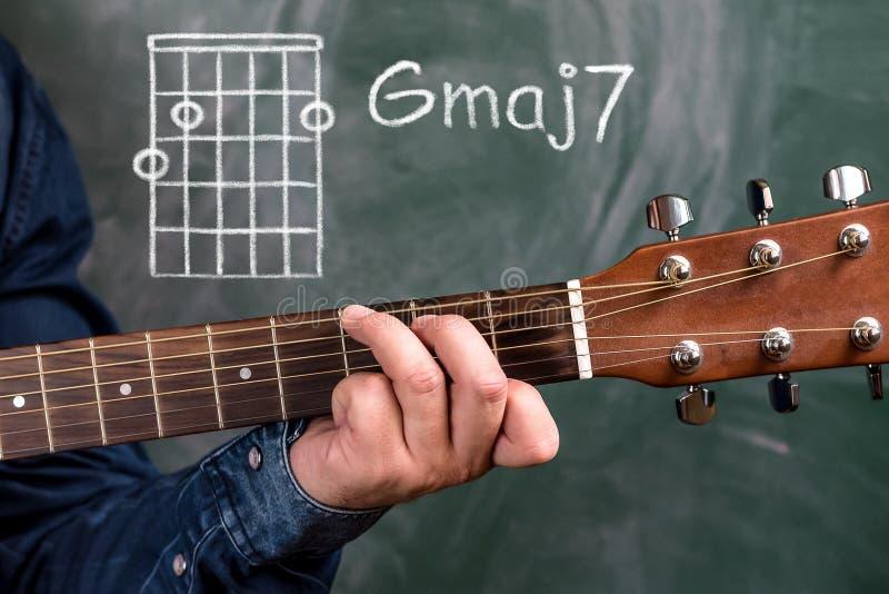 供以人员演奏在黑板显示的吉他弦,弦Gmaj7 免版税库存照片