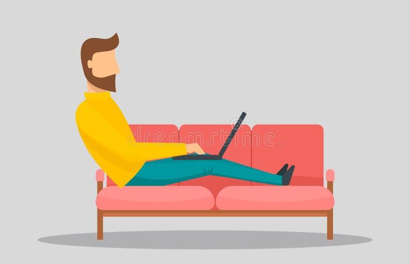 供以人员研究膝上型计算机在水平沙发的横幅,平的样式 向量例证
