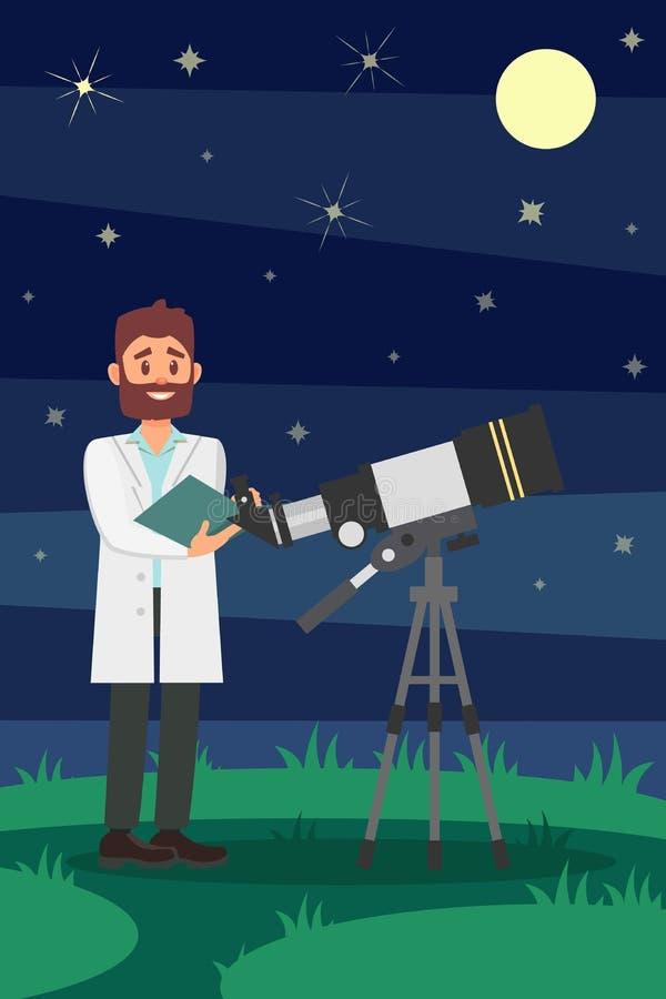 供以人员站立近的望远镜的白色实验室外套的天文学家 年轻男性在背景的科学家夜满天星斗的天空 平面 皇族释放例证