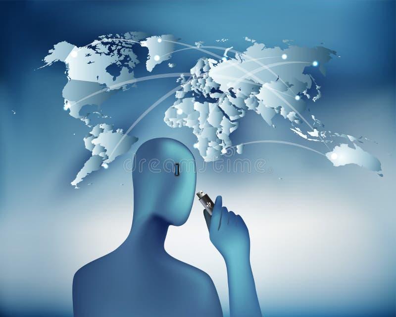 供以人员谁通过连接上载并且下载数据到全世界网络通过usb种入在脑子和与pendrive手中 库存例证