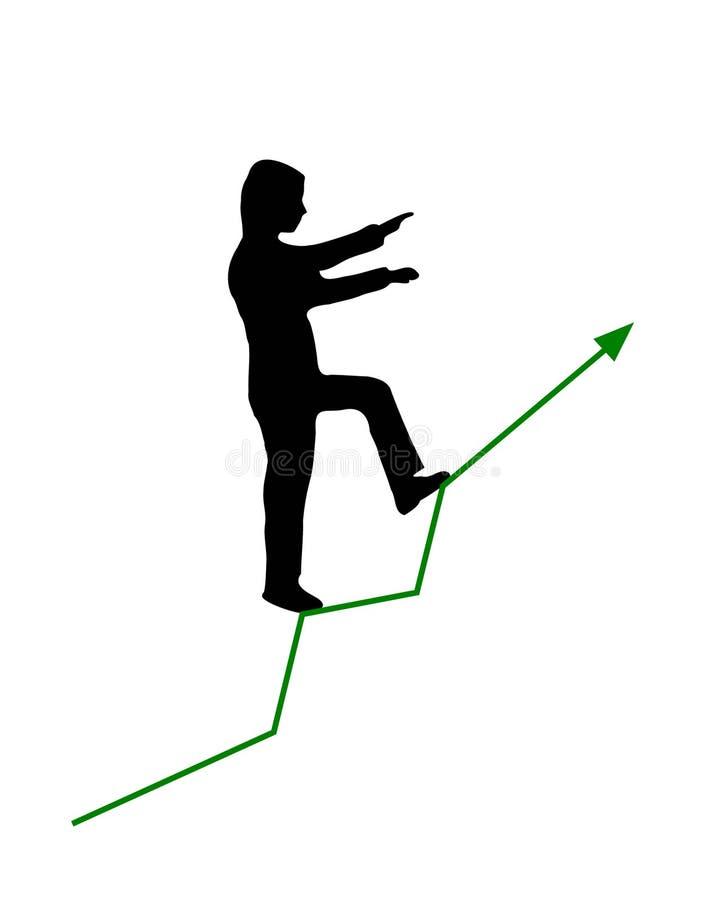 供以人员走与今后两条胳膊在最前面和一条腿象攀登楼上长大传染媒介的绿色图表箭头线 库存例证