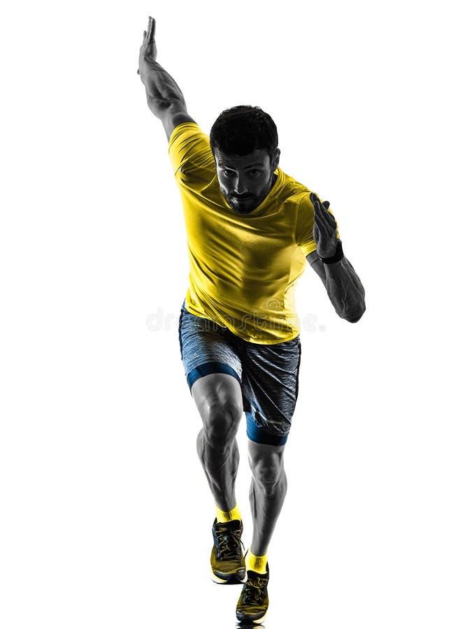 供以人员跑步被隔绝的剪影白色的赛跑者连续慢跑者  库存图片