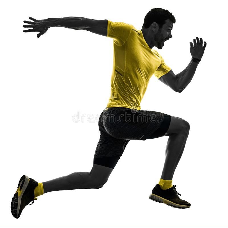 供以人员跑步被隔绝的剪影白色的赛跑者连续慢跑者  图库摄影