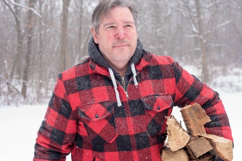 供以人员运载的木柴在一冷的多雪的天 免版税库存照片