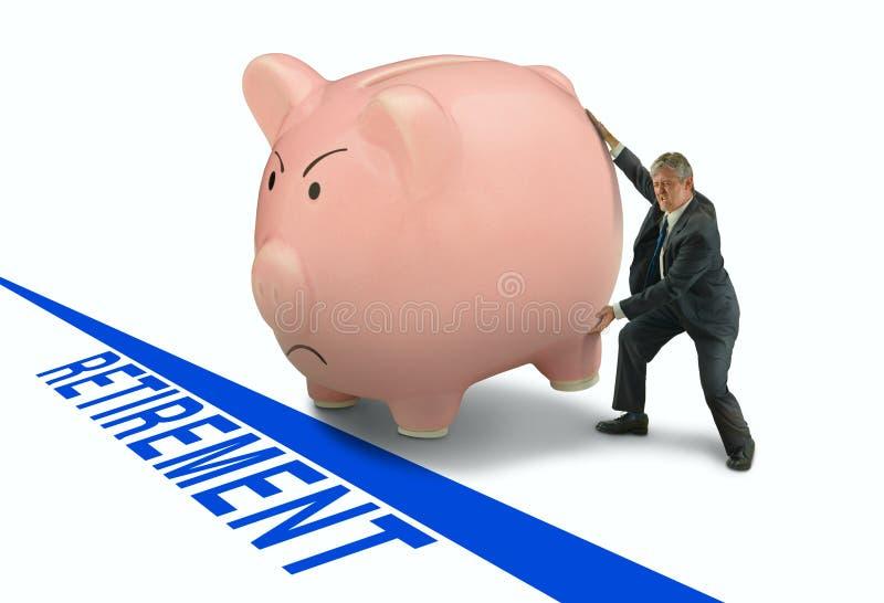 供以人员迫使他的存钱罐的truggling入退休 免版税库存照片