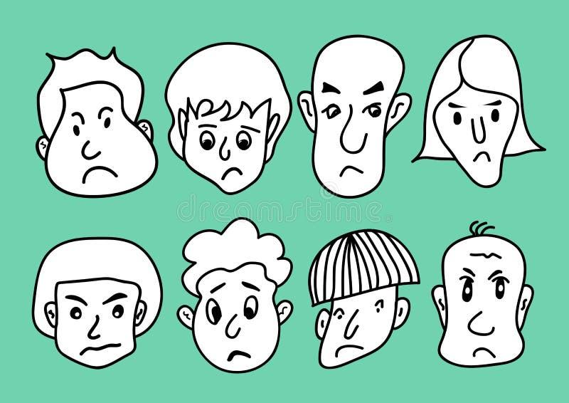 供以人员面孔动画片象传染媒介例证,微笑的人,年轻人具体化线象,手拉在黑白人民哀伤的面孔 向量例证