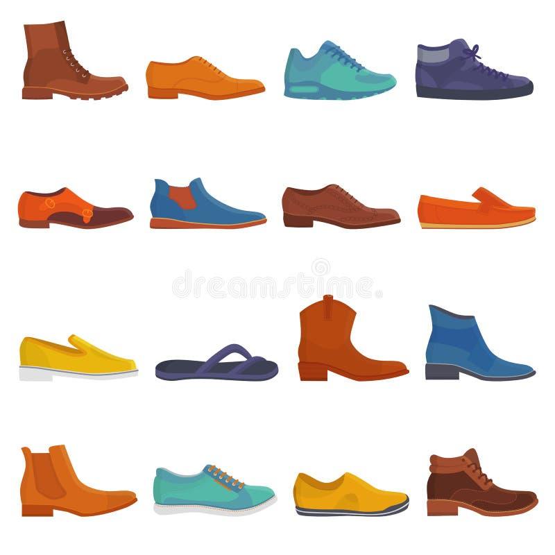 供以人员鞋子传染媒介男性起动和经典皮革footgear的鞋类或者人例证套的时尚或毛线  向量例证