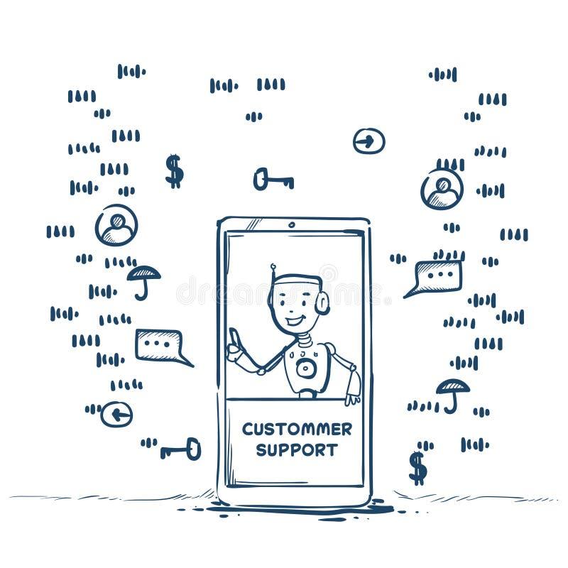 供应中心机器人代理流动应用人工智能客户网上操作员顾客和技术 向量例证
