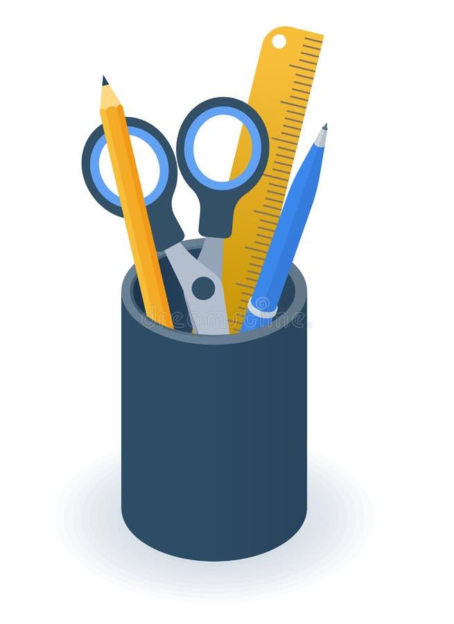 供应持有人杯子的平的等量例证 笔,铅笔 皇族释放例证