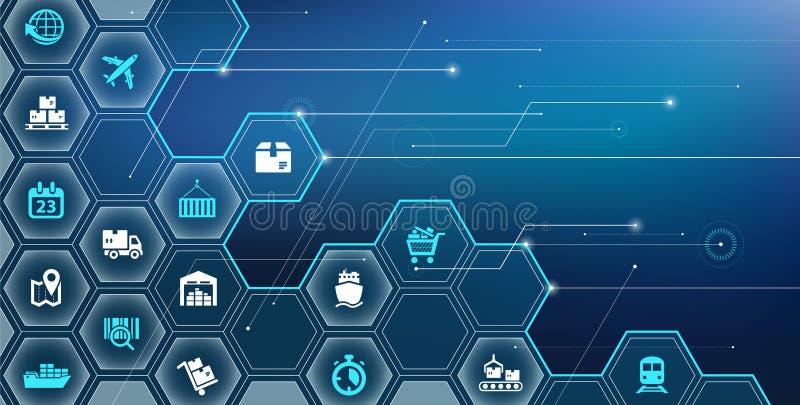 供应链管理概念,获得,储藏,运输,发行-传染媒介例证 皇族释放例证