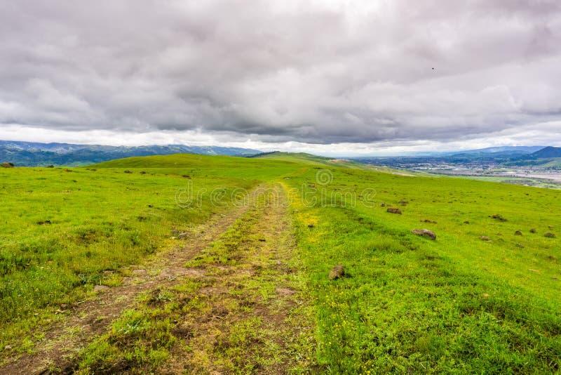 供徒步旅行的小道通过南旧金山湾区,圣荷西,加利福尼亚嫩绿的小山  库存照片