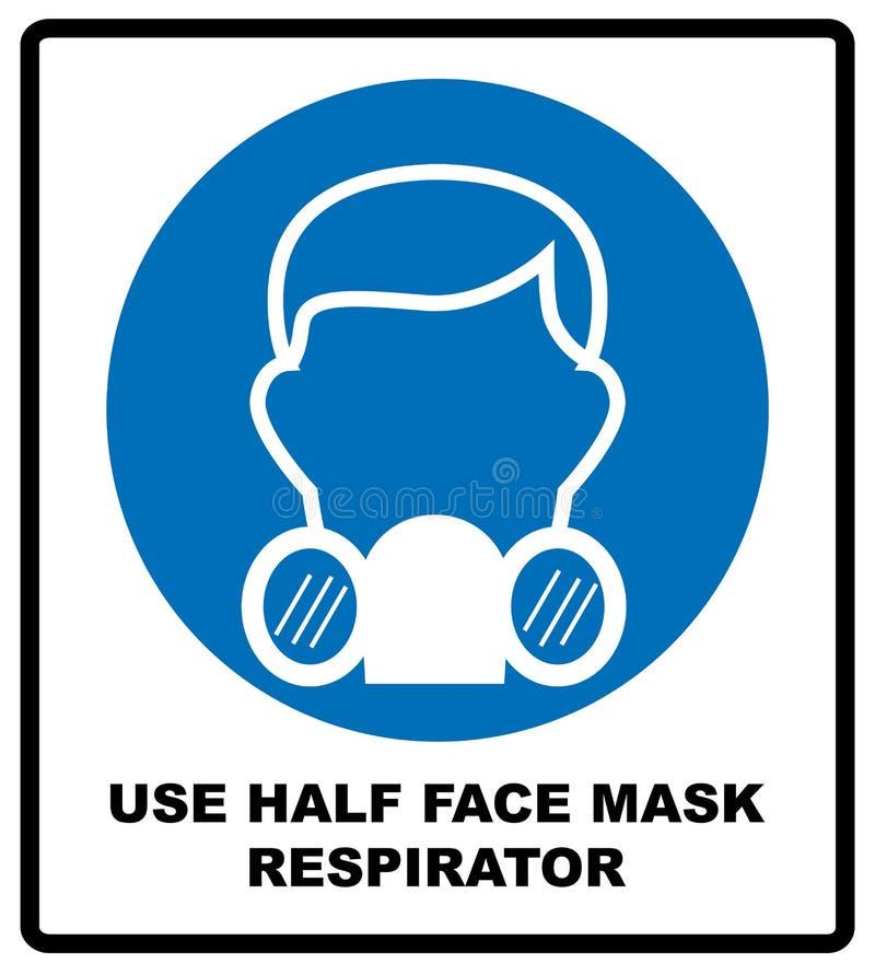 供气在白色背景在简单的样式的半截面罩象隔绝的 保护标志 向量例证