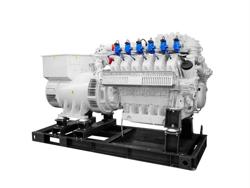 供气在白色背景隔绝的活塞柴油电发电器 库存图片