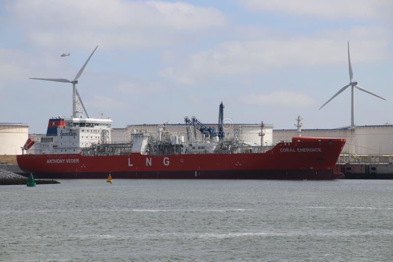 供气液化天然气船珊瑚ENERGICE在BP鹿特丹精炼厂跳船在Maasvlakte港口 免版税图库摄影
