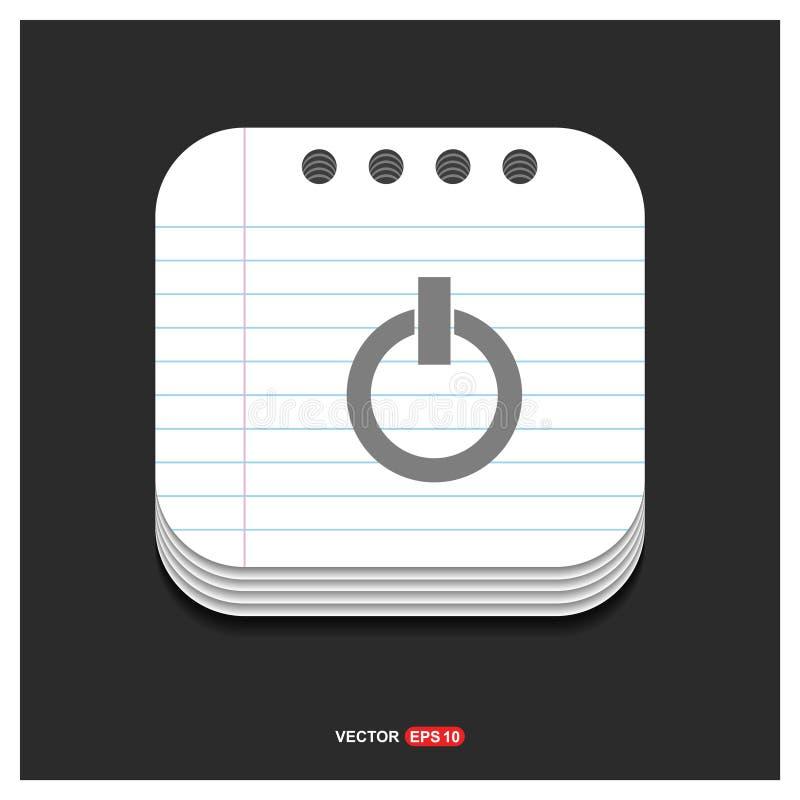 供给在笔记薄样式模板传染媒介EP的按钮象灰色象动力 库存例证