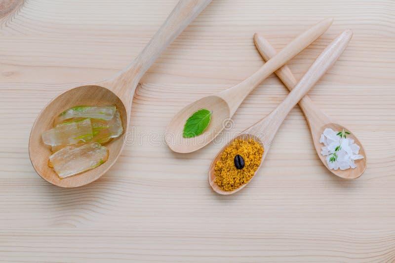 供选择护肤和自创洗刷芦荟维拉和海盐 免版税库存照片