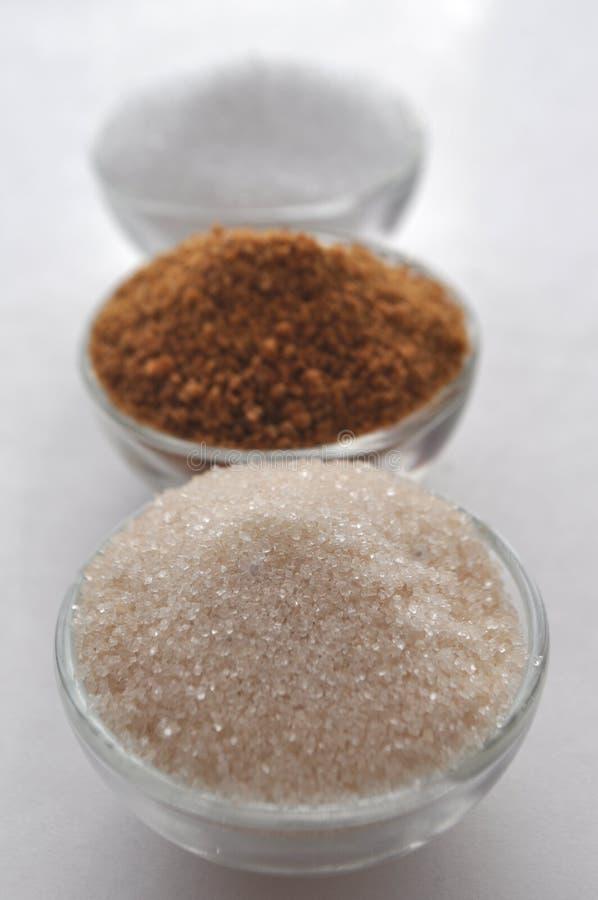 供选择的糖精和糖替补-椰子芽糖,木糖醇,蔗糖 免版税图库摄影