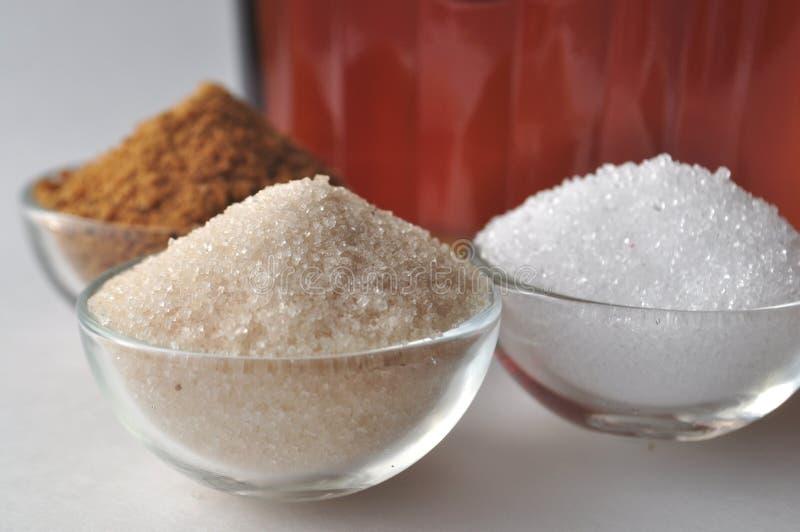 供选择的糖精和糖替补-椰子芽糖,木糖醇,蔗糖 免版税库存照片