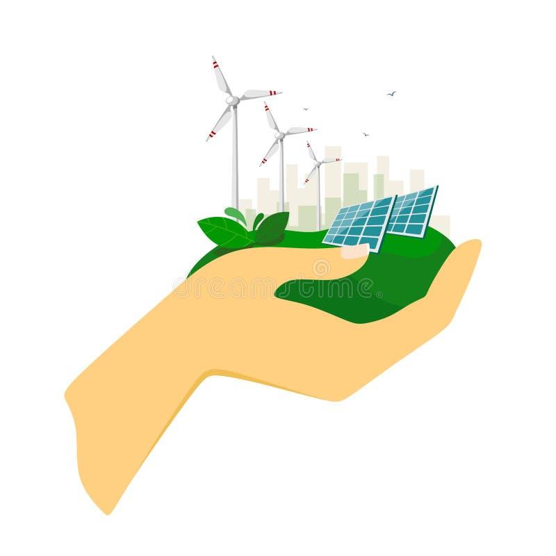 供选择的能源、太阳电池板和风轮机有城市的在背景中在人的手上 环境友好的能量 向量例证