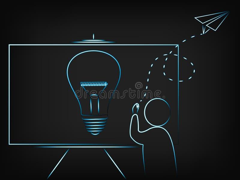 供以人员写关于与想象力飞行纸airp的一个新的想法 向量例证