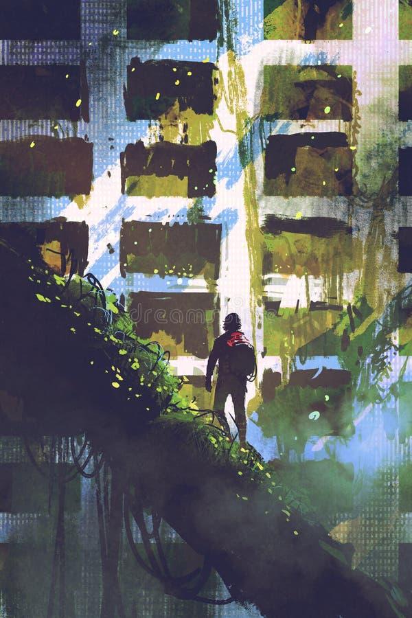 供以人员在看被放弃的大厦的巨型树的身分 向量例证