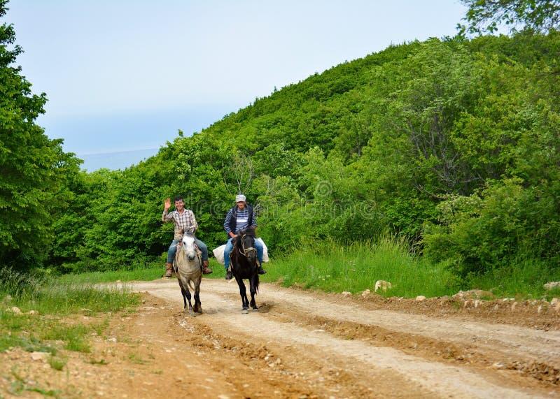 供以人员在马背上,高加索 库存照片