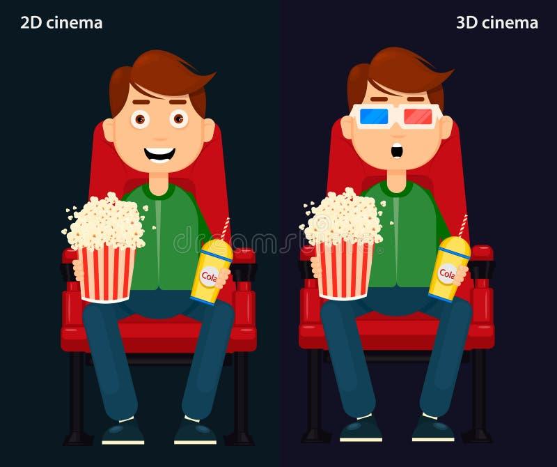 供以人员坐在戏院和观看电影,第2和3D戏院 皇族释放例证