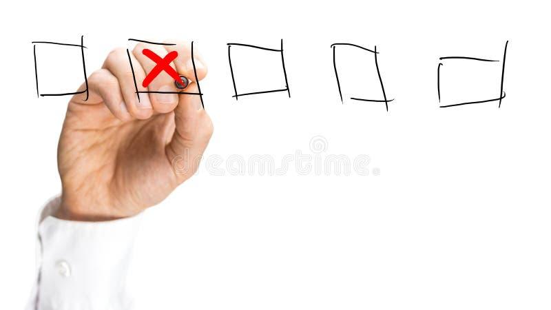 供以人员安置红十字在一套复选框 免版税图库摄影