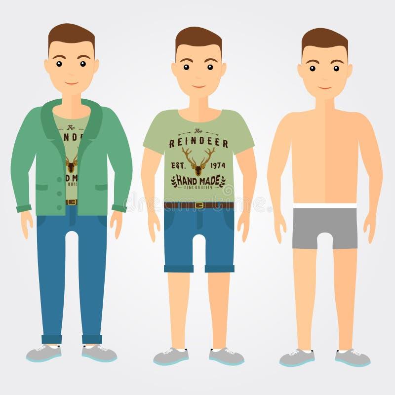 供以人员成套装备内衣,偶然和体育在平的样式 向量例证