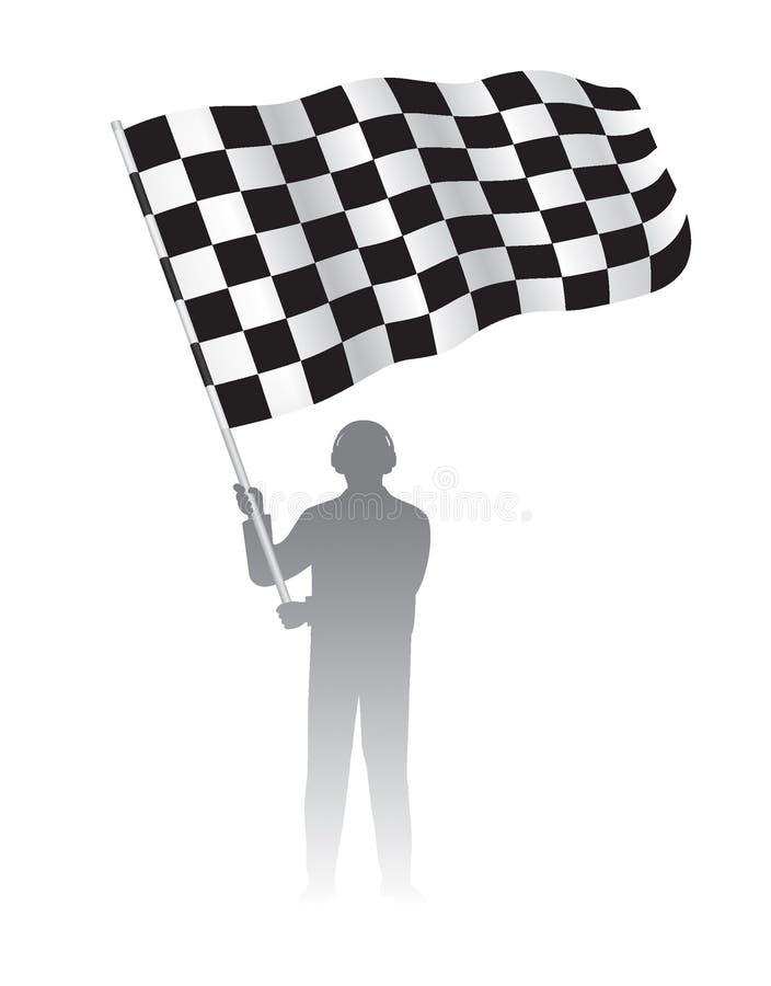 供以人员拿着与方格的黑色&白色赛跑的样式的挥动的旗子 库存例证