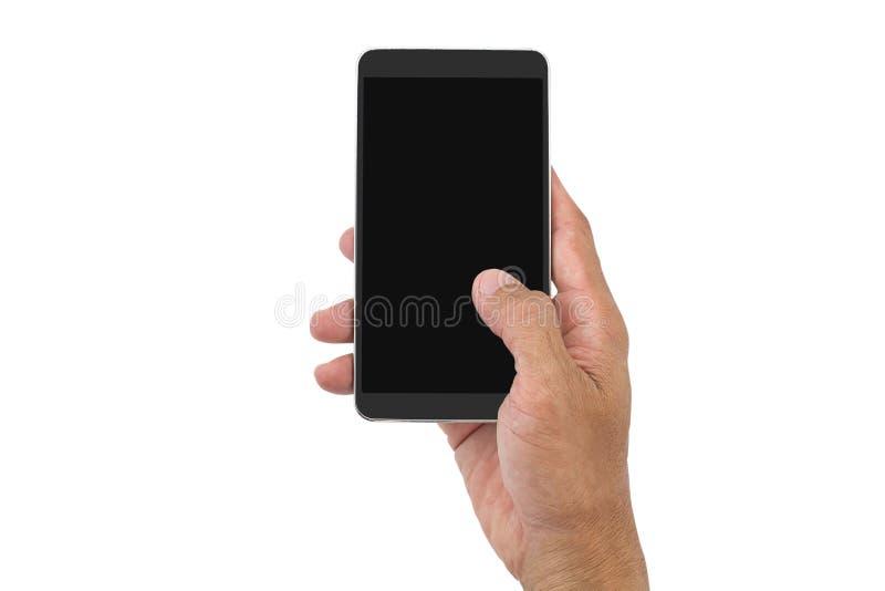 供以人员拿着在白色背景的` s手手机 免版税库存图片