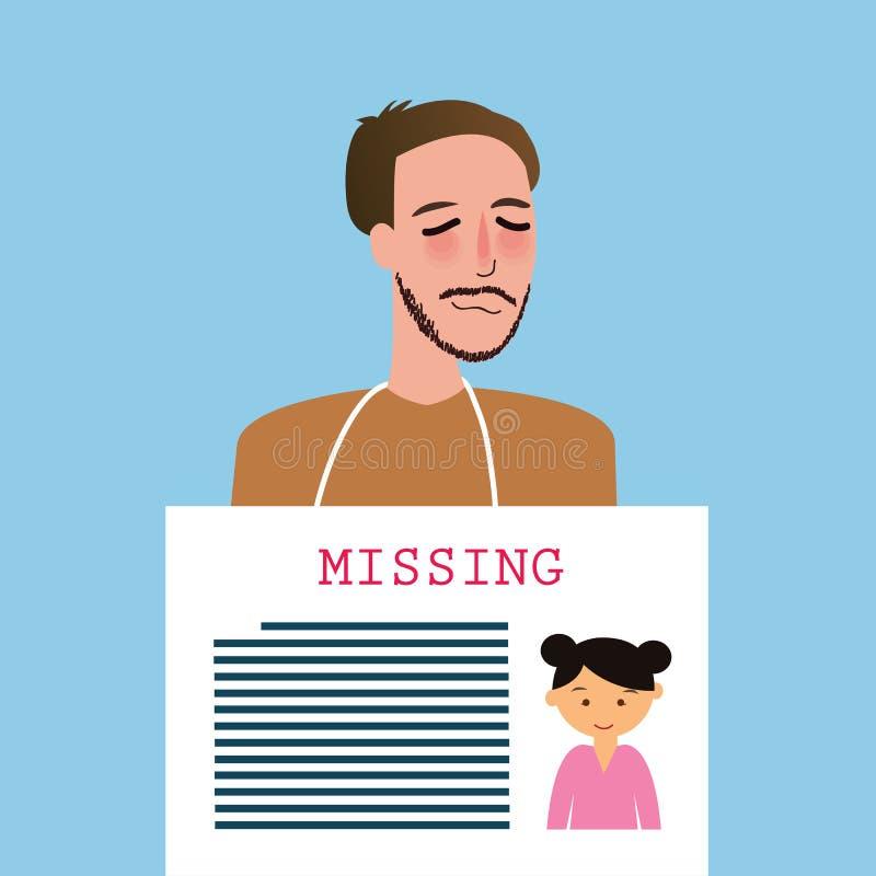 供以人员拿着失踪的孩子孩子公告委员会的标志 向量例证
