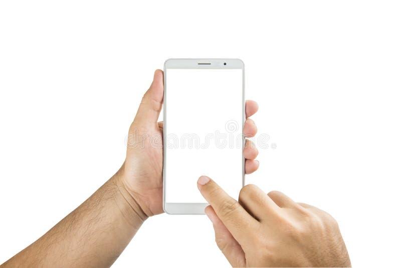 供以人员拿着空白的流动巧妙的电话的手被隔绝在白色后面 库存照片