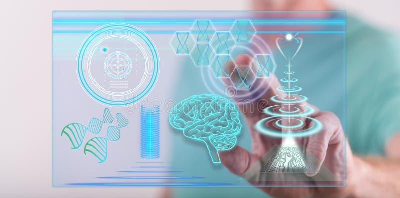 供以人员接触在接触scr的一个未来派技术概念 免版税库存照片