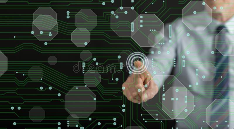 供以人员接触在触摸屏上的一个数字技术概念 图库摄影