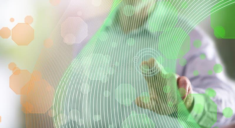 供以人员接触在触摸屏上的一个真正技术概念 图库摄影